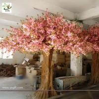Wholesale UVG giant tree made of artificial cherry blossom and fiberglass trunk for home decoration from china suppliers