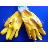 Quality Yellow Nitrile Work Gloves Open Back With Cotton Interlock Lined Knit-wrist Dip for sale