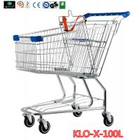 Quality Portable Metal Rolling Grocery Supermarket Shopping Trolley Carts Zinc Plated for sale