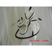 China White And Black Stylish Church Ladies Fascinator Hats With Sinamay Bow , Feather on sale