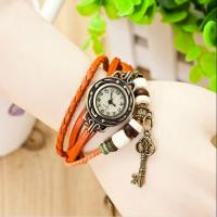 Wholesale Fashion Vintage Leather Band Quartz Watch with Key Pendants for Lover from china suppliers