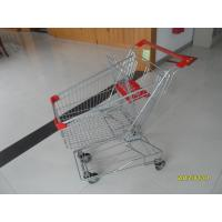 Wholesale Single Basket Grocery 80L Wire Shopping Carts With 4 Inch Rotating TPE Casters from china suppliers