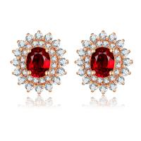 Wholesale Brilliant 18k Ruby And Diamond Cluster Earrings For Women July Birthstone from china suppliers