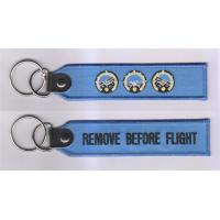 Wholesale Remove Before Flight Embroidered Keychain with Customized Embroidered Logo, Accept Any Col from china suppliers