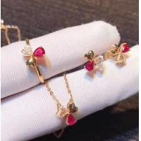 Wholesale Red Real Gemstone Jewelry Ruby Diamond Wedding Set In 18K Rose Gold from china suppliers