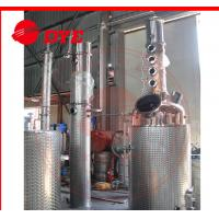 China 100gal Gin spirit alcohol distiller with red copper distillation column plates on sale