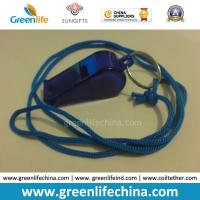 Wholesale OEM Wholesale Custom Translucent Dark Blue Plastic Sport Whistle with Key Ring&Round Cord from china suppliers