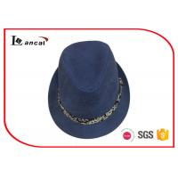 Wholesale Navy Canvasladies Summer Trilby Hats , Custom Logo Trilby Style Hat from china suppliers