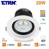 Wholesale ETRN Brand CREE COB LED 4 inch 20W Dimmable LED Downlights Ceiling Lights Recessed lights from china suppliers