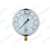 Quality Steel Chrome Ring General Pressure Gauge With Black Steel Case , Brass Connector for sale