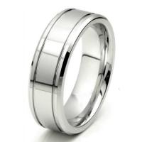 Buy cheap Tagor Jewelry Made 8mm Shiny Grooves Cobalt Chrome Ring Beveled Edges Wedding Band from wholesalers