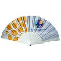 Quality Popular Style Printed Fabric Hand Held Fan For Souvenir , Foldable Hand Fan for sale