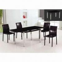 Wholesale Dining Table with 10mm Black Painting Glass Top and Chrome Finish Leg from china suppliers
