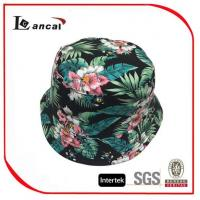 Wholesale 100% Cotton Hawaii Printed Bucket Hat With Drawstring , Ladies Floral Bucket Hat from china suppliers