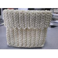 Wholesale 100% Cotton Crochet Storage Basket White Retangular Crochet Small Basket from china suppliers