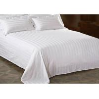 Buy cheap White Cotton King Bed Sheet With Jacquard Stripe For Star Hotel from wholesalers