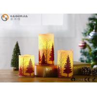 Wholesale S/3 Glittering Christmas Tree Decorative Candles LED Christmas Pillar Candles from china suppliers
