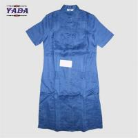 China Front button blue linen short sleeve designs casual long slim sexy girl dress for fat women on sale