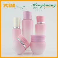 Wholesale Pink Frosty Painting Lotion Glass Bottles For Cosmetics 100ml / 120ml from china suppliers
