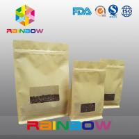 Wholesale Flat Bottom Gusset Bags , Quad Seal Block Bottom Bag With Clear Window For Coffee from china suppliers