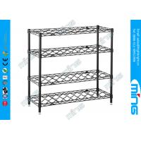 Wholesale 4 Tiers Black Mobile Wire Shelving / Wire Steel Shelving , 100kg Capacity from china suppliers