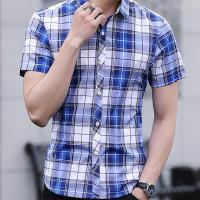 Slim Fit Checkered Pattern Mens Casual Dress Shirts Short Sleeve Fast Drying for sale