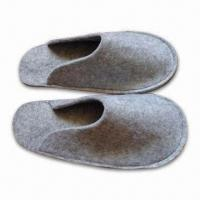 Wholesale Men's Indoor Felt Slippers, Made of 100% Polyester, Customized Designs and Colors are Accepted from china suppliers