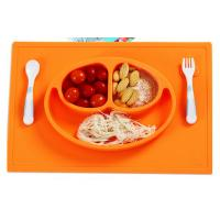 Wholesale Cute Smile Design Silicone  Placemat With Bowl One Piece LFGB Standard from china suppliers