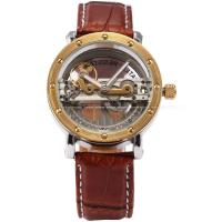 Wholesale Steampunk Silver Mens Wrist Watches Leather Band , Mechanical Wrist Watch from china suppliers