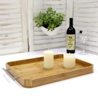 Wholesale Professional Rectangle Bamboo Serving Tray Food Tray With Stainless Steel Handle from china suppliers