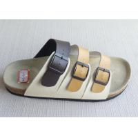 Wholesale OEM Womens / Men Cork Sandals , Causal Three Belts Flat PU from china suppliers