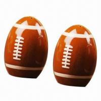 Quality Brown football-shaped ceramic salt and pepper shaker for sale