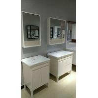 Wholesale PVC Bathroom Cabinet LED Lamp Mirror cabinet Ceramic Basin 80cm from china suppliers