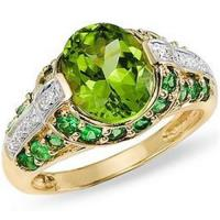 Wholesale Peridot, Tsavorite and Diamond 14K Gold Ring from china suppliers