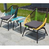 Wholesale French style Colorful Iron frame deck rattan stackable cafe lazy chair for Garden, plastic weaving rattan chair from china suppliers
