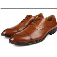 Wholesale Flat Cap Toe Mens Oxford Dress Shoes , Mens Brown Suit Shoes Low Heel Type from china suppliers