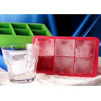 Wholesale DIY 6 Cavities Big Square Silicone Ice Cube Trays Safe To Use from china suppliers