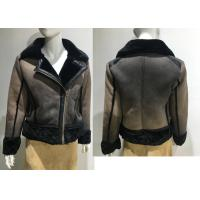 Fur Collar Fully Lined Ladies PU Jacket Faux Fur Coat Flat Pack With Plastic Bag for sale