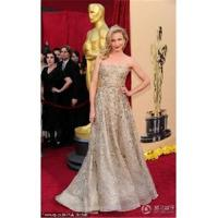 Wholesale Cameron Diaz A-line Strapless Sweep / Brush Train Sleeveless Lace Oscar/ Evening Dress OD0007 from china suppliers