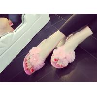 Wholesale Pretty Womens Thong Slippers , Summer Flip Flops Plastic Upper With Three Flowers from china suppliers