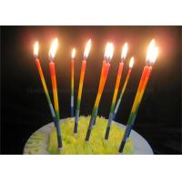 Wholesale Color Gradient Long Thin Birthday Cake Candle Blue Green Yellow Red Orange Paraffin from china suppliers