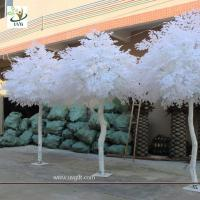 Wholesale UVG GRE011 10ft white artificial christmas tree with wood fake banyan trees for party decoration from china suppliers