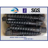 Wholesale Custom Railway / Railroad Track Spikes , Threaded Screw Spike With Plain Oiled Coating from china suppliers