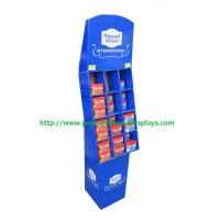 Quality Blue Grid Cardboard Display Stands For Battery / Electronic Products for sale