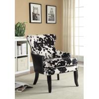 Wholesale Wingback Patterned Upholstered Dining Chairs With Solid Wood Legs from china suppliers