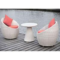 Quality outdoor synthetic rattan Lounge Chair and Ottoman white color LC-008 for sale