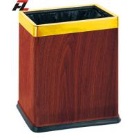 Wholesale Veneer-wrapped Dual Waste Basket with Rubber Rim from china suppliers