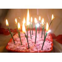 Wholesale Dark Green Sparkling Birthday Cake Candles With Shimmer Sizzle , Slim 24pcs Candles from china suppliers