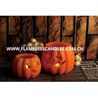 Wholesale Battery Operated Halloween LED Candles , Wax Carved Pumpkin Flameless Candles with Glitter from china suppliers
