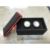 Quality Black Jewelry Packaging Leather Cufflink Box With Removed Cover for sale